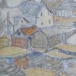 "Milton Houses, Pencil and Watercolour, Elizabeth Cann, 4.75"" x 6.75"", $350.00"