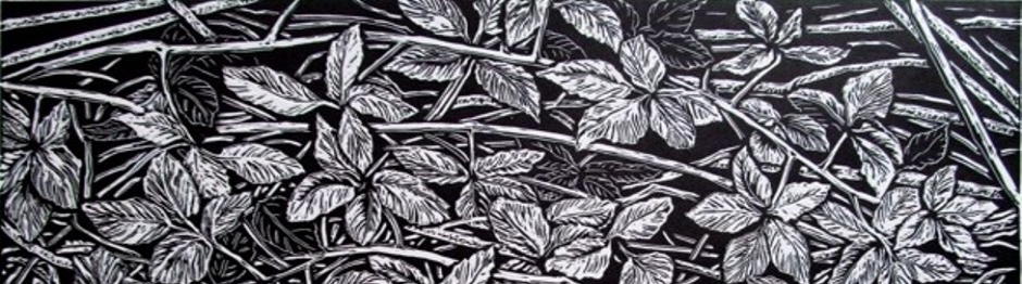 Blackberry canes linocut for slider